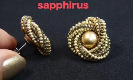 Elegant Geometric Beaded Pearl Earrings Tutorial Uses Herringbone Stitch