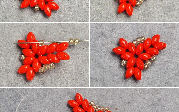 Beebeecraft Tutorial on How to DIY Red 2-Hole Seed Beads Earrings with Silver Seed Beads