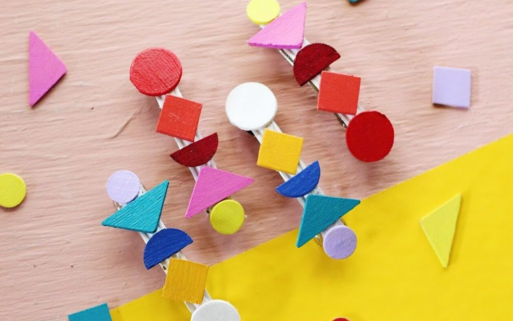 Geometric Barrette with Painted Wood Shapes