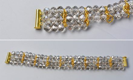 Beebeecraft Tutorial on How to DIY Glass Beaded Crystal Bracelets with Golden Chains