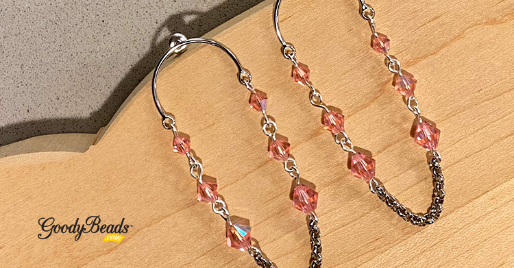 Swarovski Light Rose Shimmer Circle Post Earrings