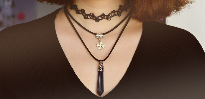 Beebeecraft Tutorials on How to Make a 2-Strand Necklace with Purple Stone Pendant and Flower Dangle Pendant
