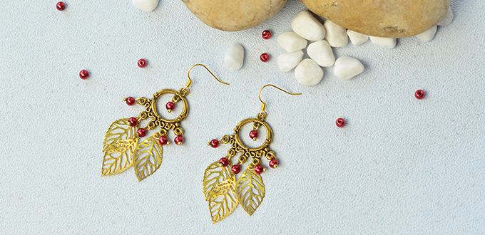 Beebeecraft Tips on How to Make Tibetan Style Chandelier Leaf Dangle Earrings with Red Pearl Beads