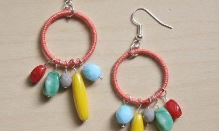 Colourful thread and bead earrings diy tutorial