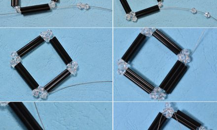 Beebeecraft Tutorials on How to Make a Pair of Glass Beaded Square Drop Earrings