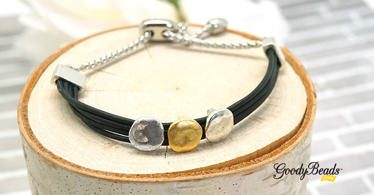 DIY Mixed Moons Leather Bracelet with Adjustable Sliding Clasp –