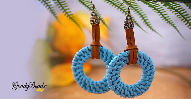 DIY Blue-Blue Straw Earrings with Deerskin Leather Lace –
