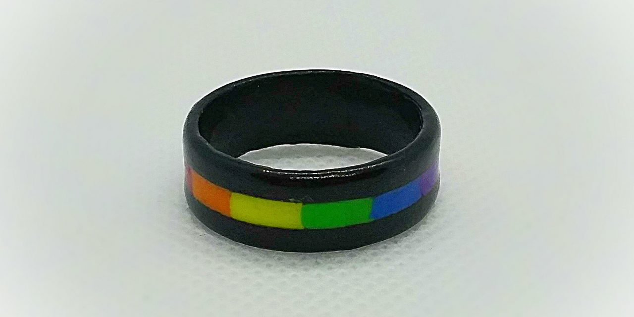 Our Rainbow Pride Ring, seen here with an ebony wood band.