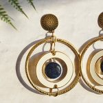 DIY Golden Goddess Earrings with Lapis Gemstones –