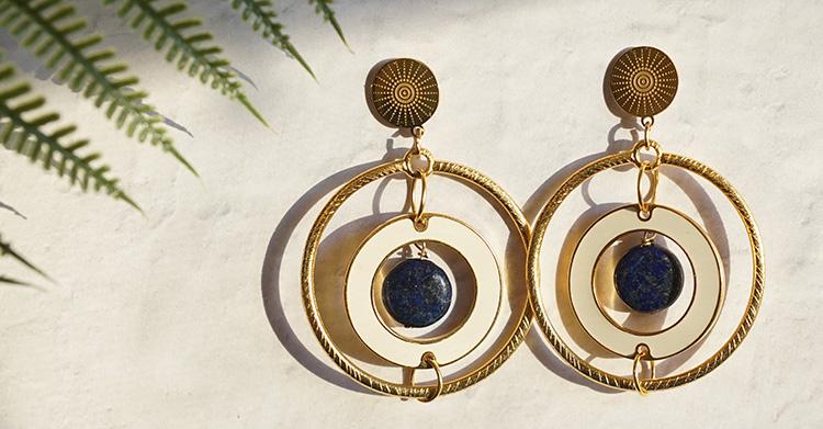 DIY Golden Goddess Earrings with Lapis Gemstones –