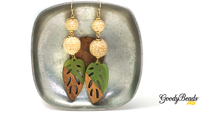 DIY Tropical Leaf Earrings with Wood & Resin Pendants –