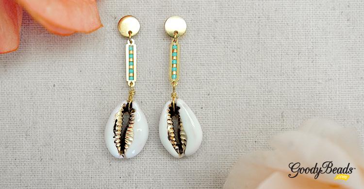 DIY White Cowrie Shell Earrings –