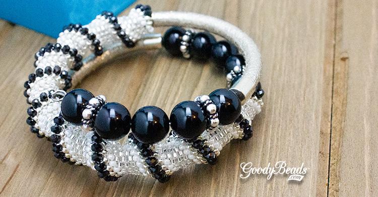 Dakota Stones Microfacet Gemstones & DIY Memory Wire Bracelet with Cellini Spiral Pattern –