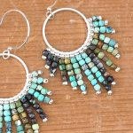 Fringe Earrings with Gemstone Cube Beads