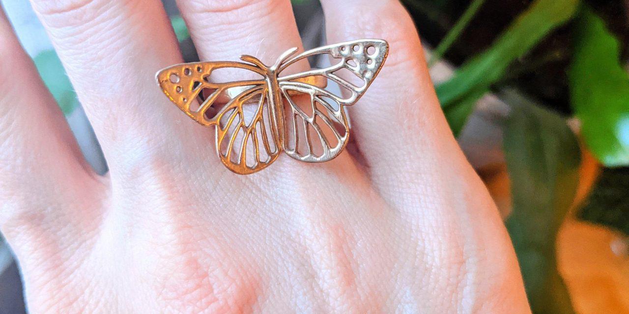 Bronz Cast of Monarch Butterfly Ring [OC]