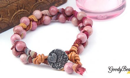 DIY Gemstone, Ribbon & Leather Bracelet with Video Tutorial –